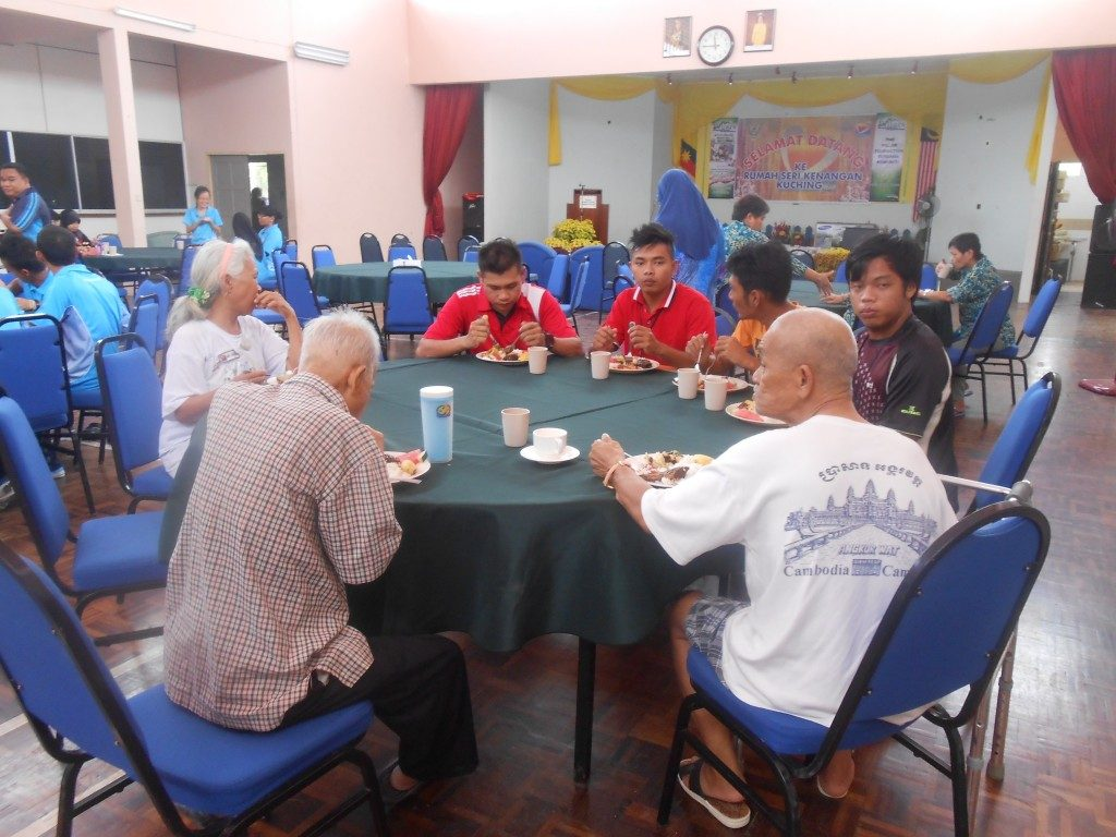 Residents of Rumah Sri Kenangan sharing meal with The Pillar Foundation volunteers.
